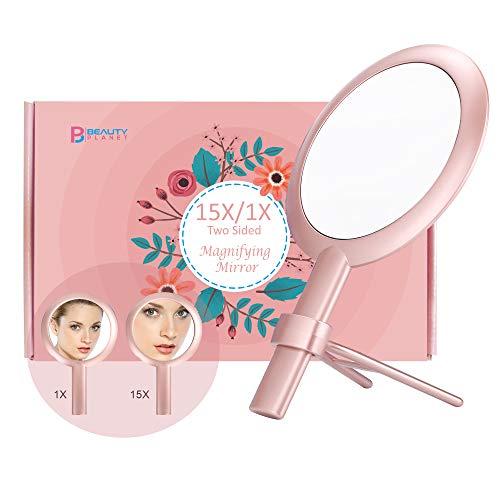 Miroir grossissant 15X, miroir double face,grossissement 15X/1X, miroir de maquillage avec support, à utiliser pour l'application du maquillage.6 Inch/16cm. (Rose)