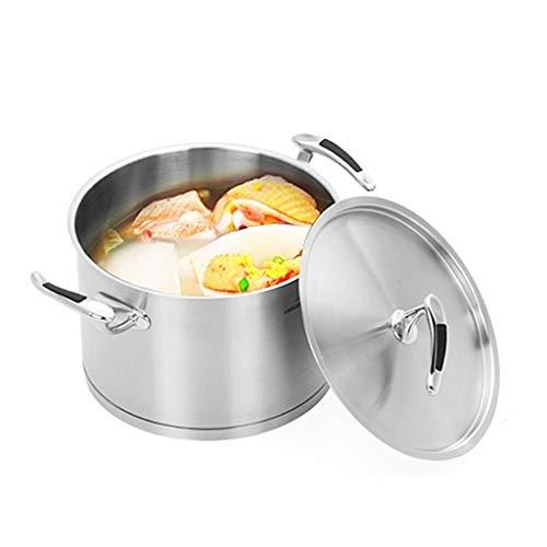 Acier inoxydable Double Fond Ménage Pot À Soupe Cuisinière À Gaz Universel 24cm Complexe Fond Anti-adhésif Épaississant Pot À Soupe Ragoût Pots