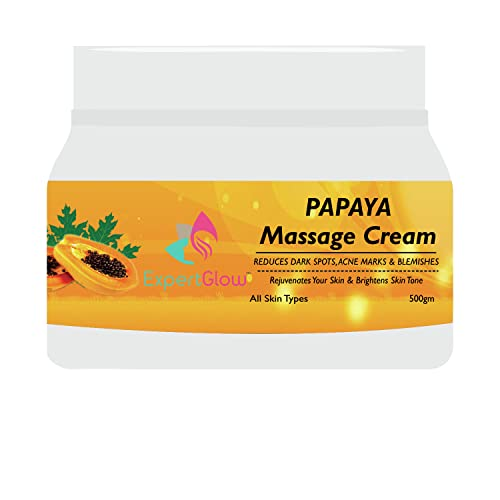 ExpertGlow Papaya Face Massage Cream for Skin Whitening, Tanning and Pigmentation Control Anti-Marks & Spots Removal  500 gm Papaya Facial Massage Cream for All Type Skin