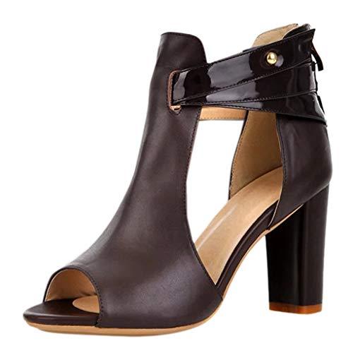 Dorical Damenschuhe High Heel Sandalen Sandaletten Kunstleder Peep Toe Stiefel Reißverschluss Sandalen & Sandaletten Wildleder Schuhe Elegant Sandaletten Freizeit Party-Schuhe(Kaffee,35 EU)