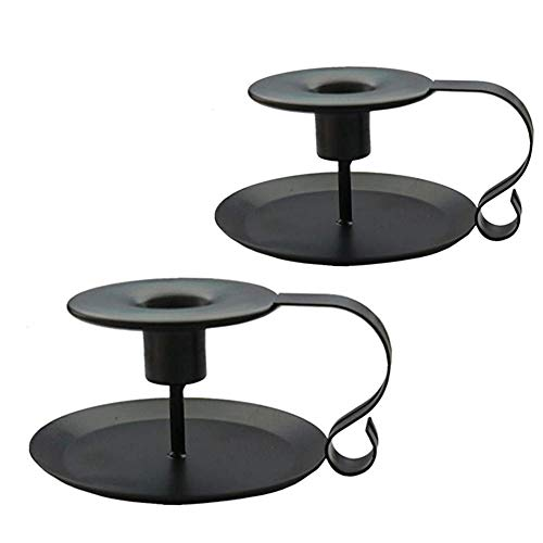 Wrought Iron Taper Candle Holder,Iron Candle Holders (1X2, Black)