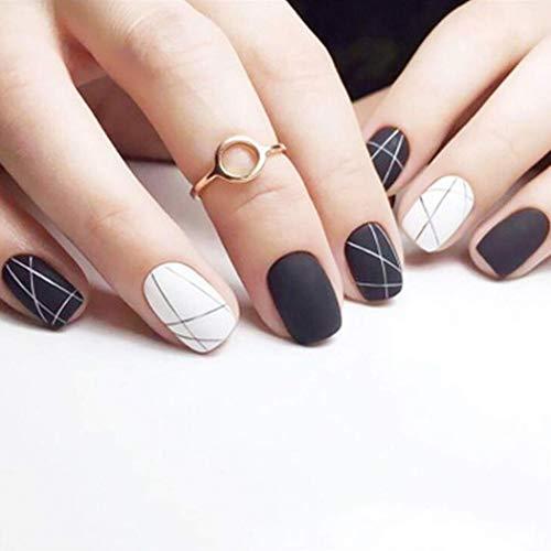 Gangel Matte Fake Nails Black White Full Cover False Nails Short Square Press on Nails for Women and Girls