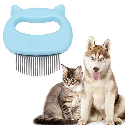 Rockyin Massage-Kamm für Hunde, Katzen, Hunde, Massagekamm, Fellpflege, Haarentfernung, Reinigungsbürste, perfekt für Katzen und kleine Hunde, Blau