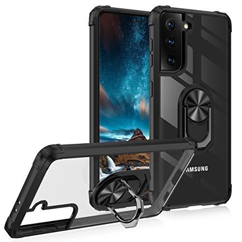 TOPOFU Hülle für Samsung Galaxy S21 Plus 5G,Transparent Ultra Dünn Schutzhülle mit [Magnetisch] [Ring Ständer],TPU Silikon Bumper und PC Back Stoßfest Handyhülle Hülle Cover,Schwarz