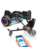 ACBK App Funda UL2272 Hoverboard + Silla Kart, Juventud Unisex, Carbono, Rueda LED 6.5'