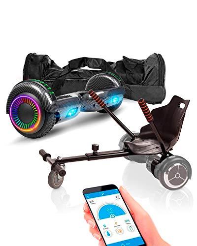 "ACBK App Funda UL2272 Hoverboard + Silla Kart, Juventud Unisex, Carbono, Rueda LED 6.5"""