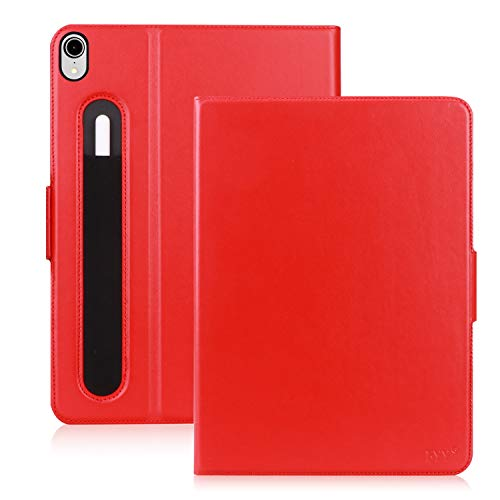 FYY New iPad Pro 11' 2018 Case with Pencil Holder [Support Apple Pencile Charging] Luxury Cowhide Genuine Leather Handcrafted Case, Handmade Protective Cover with [Auto Sleep-Wake Function] Red