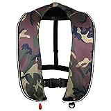 EYSON ライフジャケット ベストタイプ 手動式 インフレータブル救命胴衣 7色から選択可 釣り用 CE認定済 (グリーン迷彩, 手動式)
