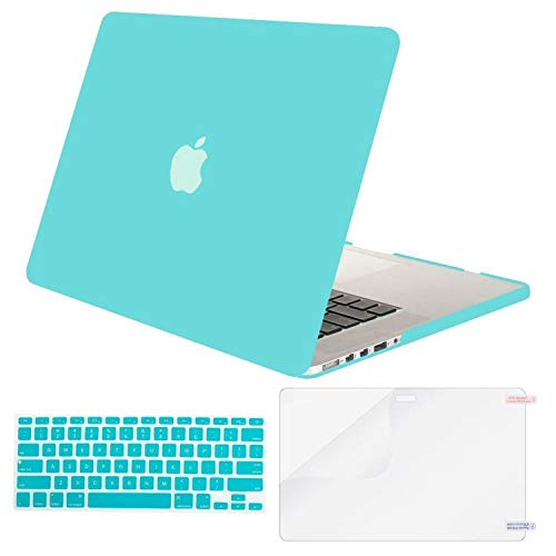 MOSISO Plastic Hard Shell Case & Keyboard Cover & Screen Protector Only Compatible with Older Version MacBook Pro Retina 15 inch (Model: A1398, Release 2015 - end 2012), Solid Blue