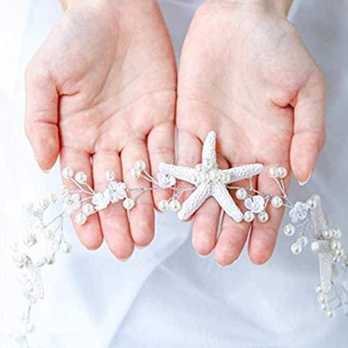 Unicra Wedding Starfish Headpiece Bridal Wedding Hair Vine Hair Accessories for Brides and Bridesmaids (Rose Gold)