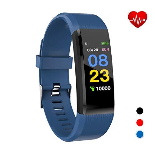 Xnuoyo Color Fitness Armband, Farbdisplay & IP67 Wasserdicht Fitness Tracker Uhr mit Herzfrequenz, Schrittzähler Aktivitätstracker Schrittzähler Pulsmesser Schlafmonitor Kalorienzähler Anruf-Blau