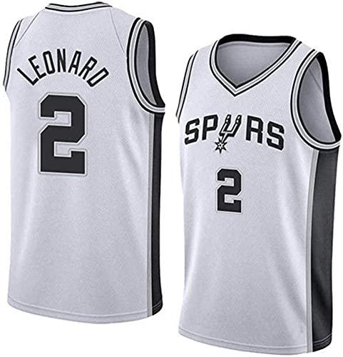 XUECHEN Maglie Maglie da Pallacanestro da Uomo, NBA San Antonio Spurs # 2 Kawhi Leonard - Uniformi Traspiranti Sciolti Uniformi Classic Comfort Senza Maniche T-Shirt Top, Bianco, XXL (185~195 cm)