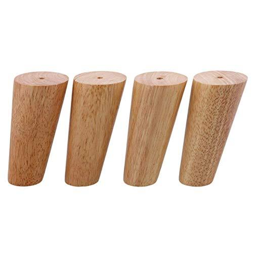 Beautiful happy 4 piezas de hardware de 12 cm de altura, piezas de madera, oblicuas, cónicas, fiables, para muebles, patas de sofá, patas con tornillos y alfombrillas (color: -, tamaño: -)