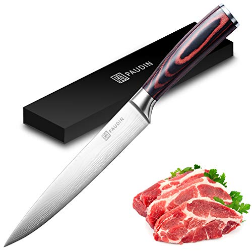 Slicing Carving Knife - PAUDIN Razor Sharp Sashimi Knife, 8 Inch Nonstick Sushi Knife, High Carbon Stainless Steel Kitchen Knife with Ergonomic Handle