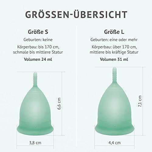 DIVINE CUP Menstruationstasse – Spring Symphony/Mintgrün – Made in Germany – geruchlos – medizinisches Silikon – Alternative zu Tampons und Binden (S – Klein) - 5