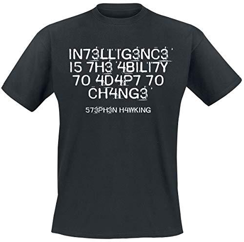 Intelligence Is The Ability To Adapt To Change Hombre Camiseta Negro M, 100% algodón, Regular