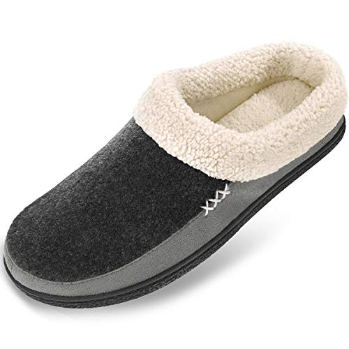 Men's Slippers Fuzzy House Shoes Memory Foam Slip On Clog Plush Wool Fleece Indoor Outdoor Size 7-8 Black/Grey