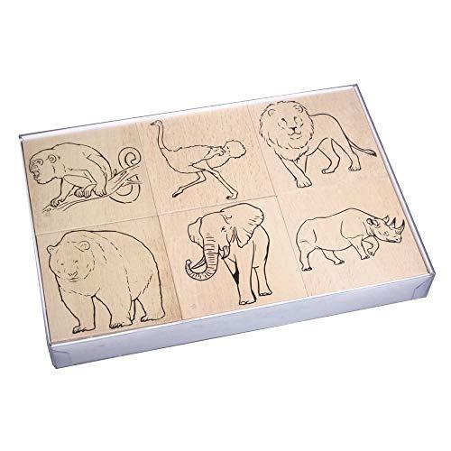 Rayher 59218000, Madera Juego de Sellos Animales del Zoo, 8x 8x 2,8cm, cartón 6Unidades