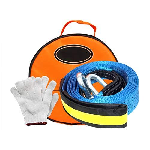 Yingji Superstretch Abschleppseil,U-Form Hochleistungs-Abschleppgurt, Auto Abschleppseil 5M-8t / 16.4ft-17000lb mit 2 Schäkeln und 1 rutschfesten Handschuhen