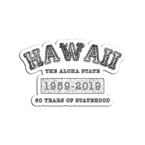 Decal Stickers for Laptop Sticker for Tumblers Vintage Hawaii Aloha State 19592019 60th Anniversary Waterproof Decal Perfect for Phone Water Bottle Vehicles (5 Pcs/Pack)