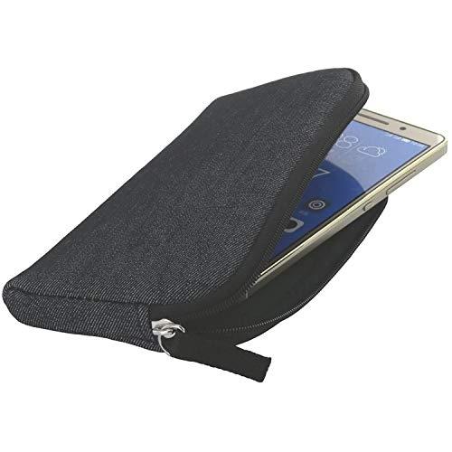 Handyhülle mit Handschlaufe 7.2 - universal Größe 2XL kompatibel mit Doro 8035 8040 / Huawei P20 Lite / P30 / P40 / Y5 2019 / Y5p / Samsung Galaxy A20e A40 A41 S10e - Handytasche schwarz / grau