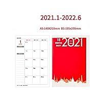 カワイイアジェンダ20212022A5ノートブックマンスリープランスケジュールオーガナイザージャーナルプランナーノートブックオフィススクールステーショナリーサプライ-Red-B5