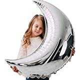 6 Pcs 36' Silver Large Moon Balloons Foil Balloons Mylar Balloons for Birthday&Wedding Party Decoration