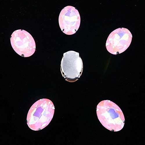 Configuración de garra de plata de forma ovalada 20pcs / P rainbow & jelly AB colores vidrio cristal 10 * 14 mm 13 * 18 mm coser diamantes de imitación apliques diy-A37 rosa AB, 10x14 mm 20 piezas