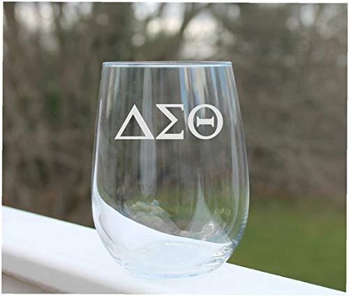 Weingläser, ohne Stiel, griechische Buchstaben, geätzt, 313 ml, Weingläser, Stielloses Weinglas, graviert