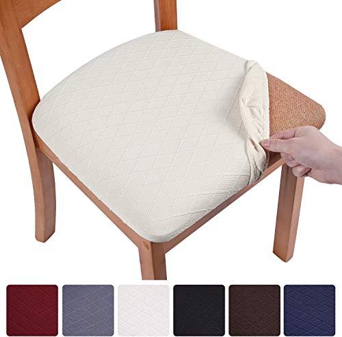 smiry Fundas elásticas para sillas de comedor, fundas para sillas de comedor, fundas de asiento de jacquard extraíbles y lavables, juego de 6 unidades, color beige