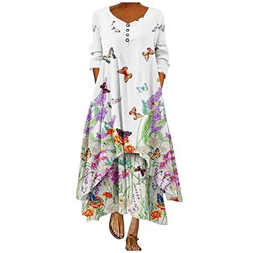 IKFIVQD Vestidos casuales para mujer, de manga larga, estilo bohemio, vestido de playa, vestidos sueltos florales, blanco, XX-Large