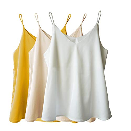 Wantschun Womens Silk Satin Camisole Cami Plain Strappy Vest Top T-Shirt Blouse Tank Shirt V-Neck Spaghetti Strap US Size S;Yellow+Champagne+White