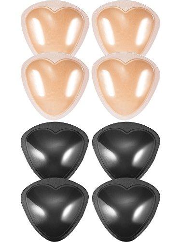 Hestya 4 Paar BH Pads Selbstklebende Einsätze Abnehmbare Push Up Brustvergrößerer für Bikini, Tri-Winkel Form, Schwarz und Beige