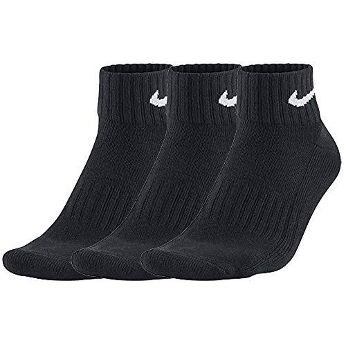 Nike Unisex  Socken Value Cotton Quarter 3 er Pack, Schwarz (Black/White),42-46