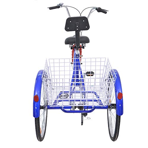 Slsy Adult Tricycles 7 Speed, Adult Trikes 24/26 inch 3 Wheel Bikes, Three-Wheeled Bicycles Cruise Trike with Shopping Basket for Seniors, Women, Men. (Star Strip, 24