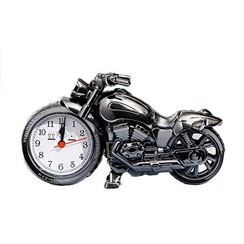 Beher Vintage Retro Motorcycle Style Students Alarm Clock, Table Desk Time Clock, Cool Motorbike Model Home Office Shelf Decoration, Novelty Birthday Children Adults Boys Gift (Grey)