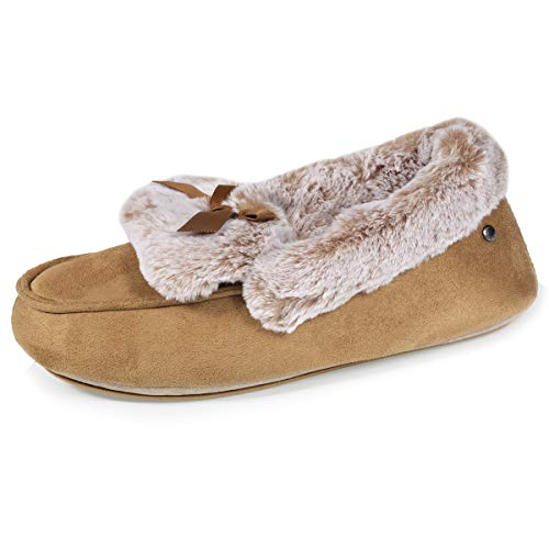 Isotoner 47924 - Zapatillas mocasines (altura barra), color camel, Beige (beige), 41 EU