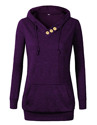 VOIANLIMO Women's Sweatshirts Long Sleeve Button V-Neck Pockets Pullover Hoodies Purple M