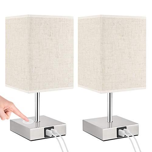 Lovebay 2 lámparas para mesita de noche táctil, intensidad regulable, color blanco cálido, lámpara de mesa moderna con 2 puertos USB, lámpara de noche retro para (B Beige Con Conexiones Usb)