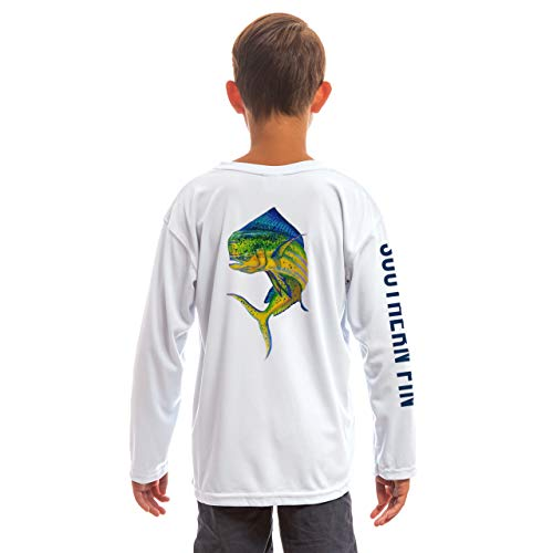 Southern Fin Apparel Youth Fishing Shirt for Kids Boys Girls Long Sleeve UV (Mahi, Large)
