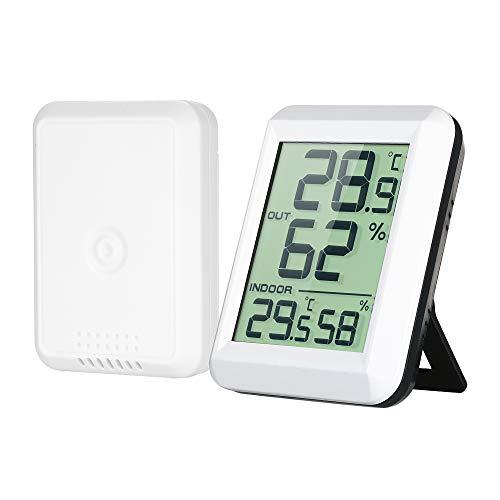 Decdeal Thermo Hygrometer Mini Funk LCD Digitales Wetterstation mit Außensensor ° C / ° F Genaue Ablesung Lange Übertragungsdistanz für Babyzimmer, Schlafzimmer, Zelt, Lager (Weiß, 6 x 7.5 x 2cm)