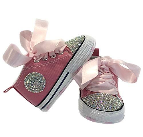 SCARPE SCARPINE STRASS 3-6 MESI BIMBA NEONATA ROSA con CRISTALLI BOREALI Baby Shoes Pink Lunghezza 11 CM Brillabenny