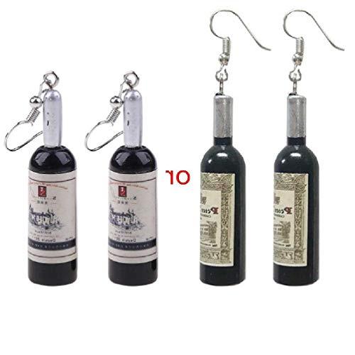 Scwopeuer - Pendientes de gota de resina con diseño de botella de cerveza, diseño de botella de vino