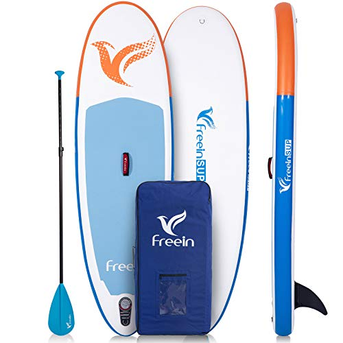 Freein Inflatable Stand Up Paddle Board,7'8 Long Inflatable SUP for Youth and Adult(with Pump and Adaptor)