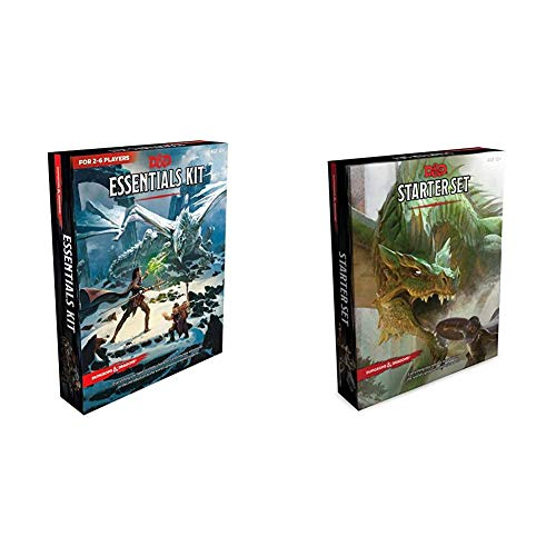 Dungeons & Dragons Essentials Kit (D&D Boxed Set)+Dungeons & Dragons Starter Set (Six Dice, Five Ready-to-Play D&D Characters With Character Sheets, a ... Roleplaying Game Starter Set(Set of 2 books)