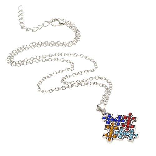 Kesheng Collar de cristal con colgante de rompecabezas para concienciación sobre el autismo