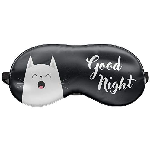 Schlafmaske Reise Relax Augen-Maske Abdeckung Bett Emoji Nickerchen Augenbinde Seine Good Night Cat [042]
