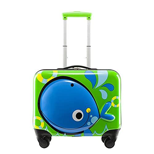Valigia dei Bambini Svegli, Bagagli di Viaggio del Fumetto 3D, Boy E Ragazza Leggera del Guscio Leggera della Guscio Leggera Piccola Valigia con 4 Ruote,Verde
