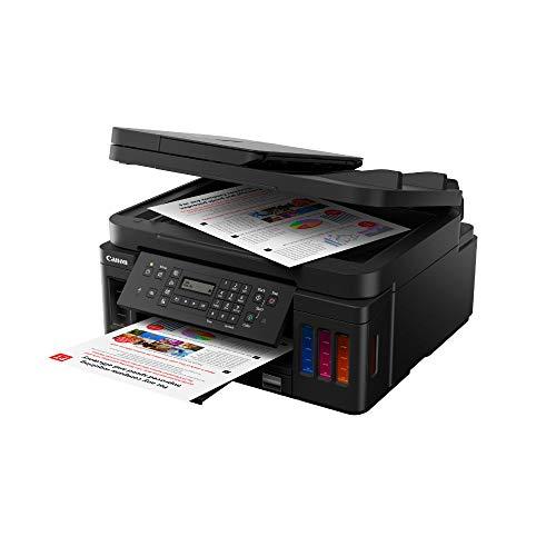 Canon PIXMA G7050 MegaTank Tintenstrahldrucker Multifunktionssystem mit nachfüllbaren Tintenbehältern (Drucken, Scannen, Kopieren, Faxen, DIN A4, WLAN, LAN, Duplexdruck, LC-Display), schwarz