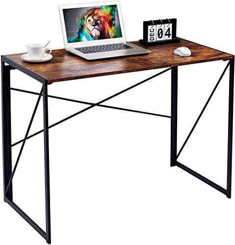 Escritorio plegable WCCfa, sin necesidad de montar, ahorro de espacio, escritorio plegable simple para el hogar (color: color retro)